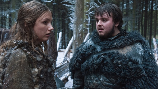 Samwell with Hanna in Game of Thrones