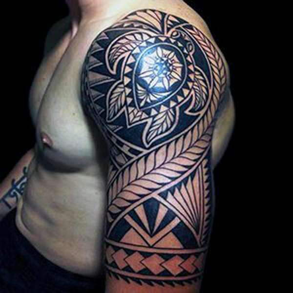 5474ce2e4a4f0 Here we have a full extend shoulder tattoo with a tiki. A tiki is a name  given to a man mask-like appearance as we can see here. These tattoos were  mostly ...