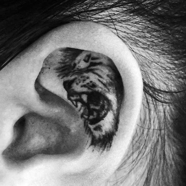 82fa32807 Inner ear tattoos- you should be creative with such designs as much as you  can. And then, you get something like this that everyone will be talking  about.
