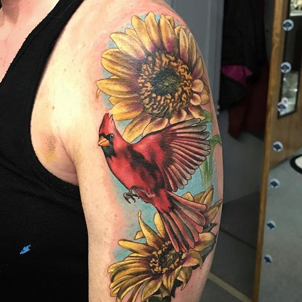 A birds meaning is just what you know, and sunflower is a flower that signifies happiness.